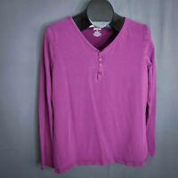 Duluth Top Shirt Size XL Purple Womens Henley Long Sleeve Jersey Knit T Shirt