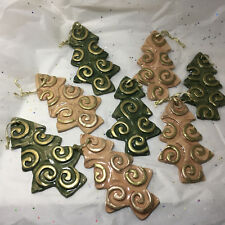 """Christmas Ornaments Homemade Terra Cotta Glazed Tile Lot of 8, 5.5"""""""