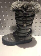 DIESEL Grey Fur Lined Khaki Leather Winter Snow Boots Childrens Girls Boys EUR26