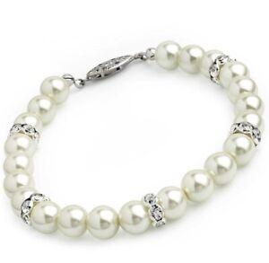 Ivory pearl colour glass bead crystal bracelet