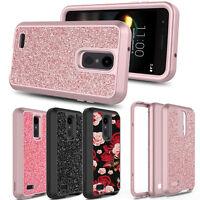 For LG Aristo 2/Rebel 4/Phoenix 4/Fortune 2 Glitter Bling Full Cover Rugged Case