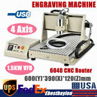 3D USB 4 Axis 6040 CNC Router Engraver PCB Milling Driiling Machine 1.5KW VFD