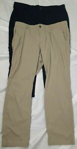 Under Armour Men's Lot Of 2 Golf Pants 1 Black And 1 Khaki 40x30