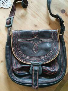Jagdtasche, Umhängetasche, Tasche, Leder, extravagant mit Stickereien