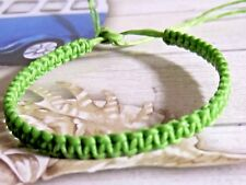 FRIENDSHIP BRACELET GREEN BRAIDED COTTON HEMP ADJUSTABLE ANKLET SURFER BOHO mens