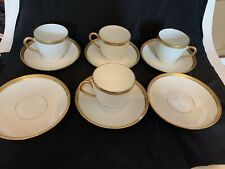 Vintage Set Of 4 Limoges Demitasse Cups And Saucers White With Gold Trim