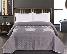 Reversible Silver Grey Super King Size Bed Bedspread Comforter Throw 260 x 280cm