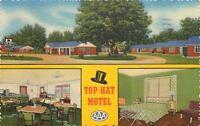 Cordele Georgia~Top Hat Motel and Coffee Shop~Interiors 1954 Postcard