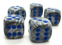 5 RPG Würfel Spiel Kniffeln W6 16mm dice4friends DSA Deluxe Made in Germany Blau