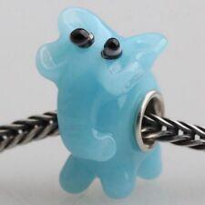 Bonito Elefante Azul encanto grano para joyería Europea
