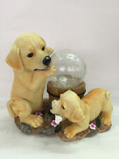 Gardenwize Garden Yard Patio Solar Puppy Dogs With Globe Ornament Statue