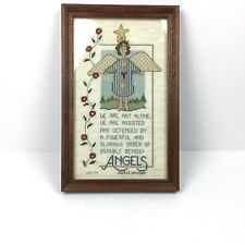 Completed Needlepoint Angel Folk Wall Art Framed Country Textile Religious