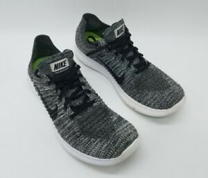 Nike Free RN Flyknit Men's Running Shoes Black White Oreo 831069-100 Size 10.5