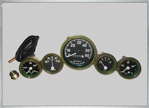 Willys Jeep MB GPW CJ Gauges Kit Speedometer Temp Oil Fuel Amp in Green Bezel