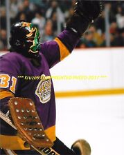 GARY SIMMONS In NET Up CLOSE Cobra MASK 8x10 LOS ANGELES KINGS Star GOALIE~@@