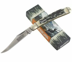 Marbles Black Stag Bone Handles Lockback Folding Pocket Knife MR474