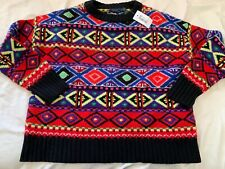 Polo Ralph Lauren Colorful Indian Print Sweater L LARGE Holiday Christmas