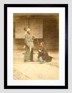 VINTAGE WATERCOLOUR PORTRAIT SAMURAI DAIMYO JAPAN FRAMED ART PRINT B12X11857