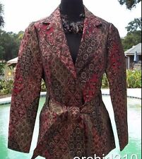 Cache Top Textured Brocade Jacket + Belt Lined New 0/2/4/6 XS/S Metallic $228