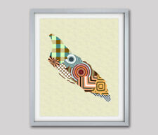 Art Aruba Map Print Travel Poster Oranjestad Abstract Cubist Painting Wall Decor