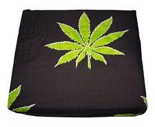 Pot Leaf Print Against a Black Background - 4 Piece Microfiber Sheet Set--Queen
