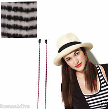 """CLIP IN FAUX FEATHERS! WHITE/BLACK TIGER! 16"""" INCLUDES 2 PIECES! BY: HAIRUWEAR!"""