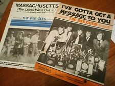 Bee Gees - 2 X 1960s Songsheets Massachusetts / gotta get a message to you
