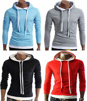 Mens Plain Hooded Hoodie Hoody Casual Gym Workwear Top Jumper Sweatshirt