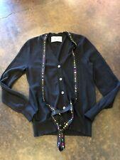 Libertine 2-3 ply black cashmere silk beaded tie cardigan S