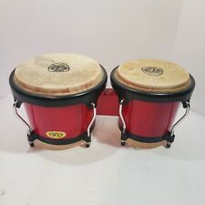 "Vintage Cosmic Percussion by LP Bongos Red Painted Hardwood 7"" & 8"" Rawhide Head"