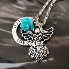 Faith Love Hope Guardian Angel Blue Flower Cluster Silver Pendant Necklace 16""