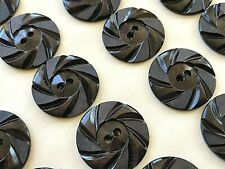"Vintage Buttons - 24 Chocolate Brown Casein 2-Hole Wheel 7/8"" Buttons - France"