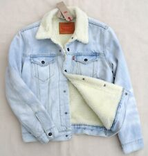 LEVIS Mayo Faux Shearing Sherpa Denim Jean Jacket Warm Blue Light Wash Men's S