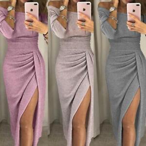 Womens Sexy Off-Shoulder Long Dress Split Formal Elegant Evening Party Dresses