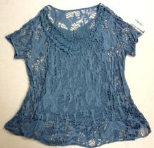 BEAUTIFUL BLUE LOOSE FIT 2 PART MESH/LACE TOP SIZE 18 - BNWT