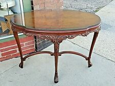 French antique burl Walnut Ornate wood carved oval Parlor Table museum quality