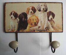 Twin Cachorro Estilo Metal Sign Perchero Gancho-Collar de perro de plomo Pared Suspensión de puerta