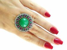 Handmade Turkish Jewelry 925 Sterling Silver Emerald Ring Size 8 R2257