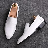 Men's Dress Shoes Pointy Toe Slip On Faux Leather British Casual Wedding Loafers