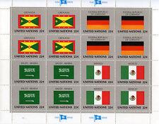 ONUB85 - NAZIONI UNITE - NEW YORK - MINIFOGLI BANDIERE 1985 - (MNH / **)
