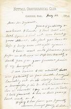 ZOOLOGIST JOEL ASAPH ALLEN ORIG. 1880 AUTOGRAPH LETTER to ERNEST INGERSOLL