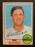 Pete Richert Orioles Signed 1968 Topps Baseball Card #354 Auto Autograph 1