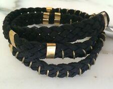 New Free People Braided Suede Wrap around Bracelet Nwt Black / Brass Boho cool