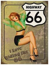 Highway Route 66, America Road USA Car 50s Pin-up Girl Medium Metal/Tin Sign