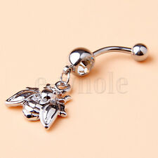 1.6mm Bee Clear Rhinestones Belly Ring Cute Navel Bar  Button Piercings HM