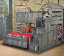Club House Twin Over Full L-Shaped Loft Bed w Stairway Chest Loft