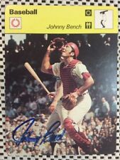 1977 JOHNNY BENCH SPORTSCASTERS CARD (CINCINNATI REDS) Signed