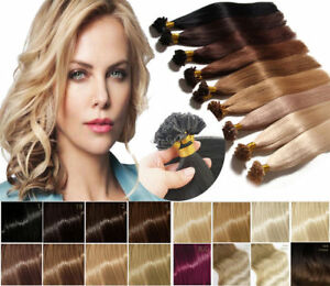 8A Fusion Pre bonded U/Nail Keratin Tip100% Remy Human Hair Extensions 16-26Inch