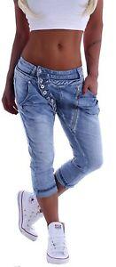 Mozzaar Damen Boyfriend Jeans Capri Baggy Kurze 3/4 Hose Knopfleiste Sommer B130