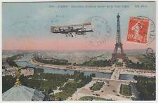 AVIATION 1914 *EROPLANE EVOLUANT AUTOUR DE LA TOUR EIFFEL* post card used